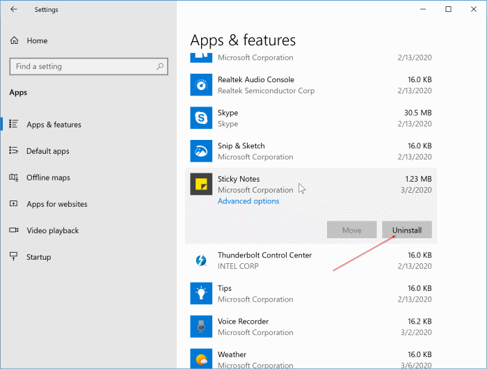 uninstall sticky notes in Windows 10