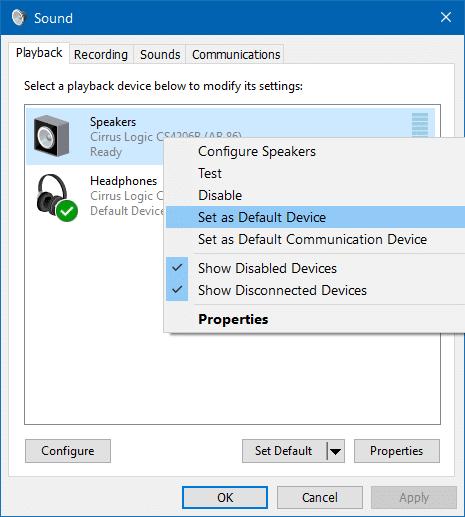 Sử dụng loa và tai nghe cùng lúc trong Windows 10 bước 2