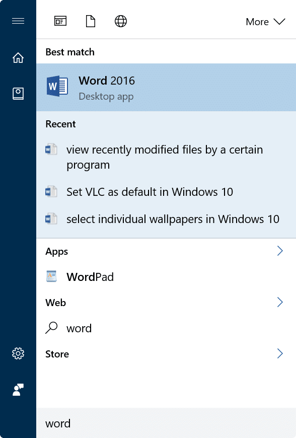 view recently modified files in Windows 10 using Start menu search3