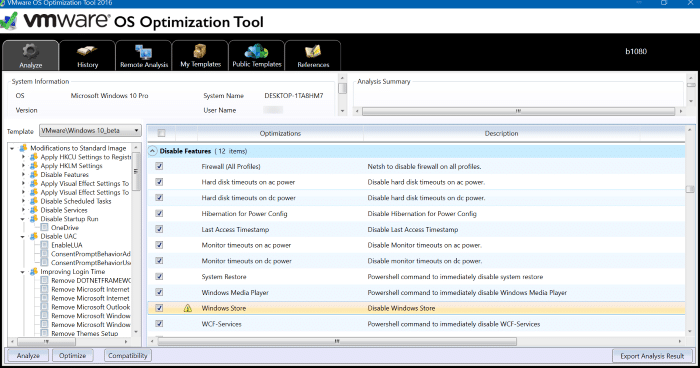 vmware os optimization tool for Windows 10 pic1