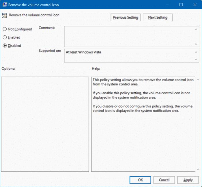 lost volume icon on taskbar windows 10