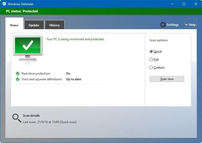 Disable Windows Defender In Windows 10 Via Registry Or Group Policy