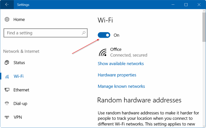 laptop how to turn on wifi windows 10