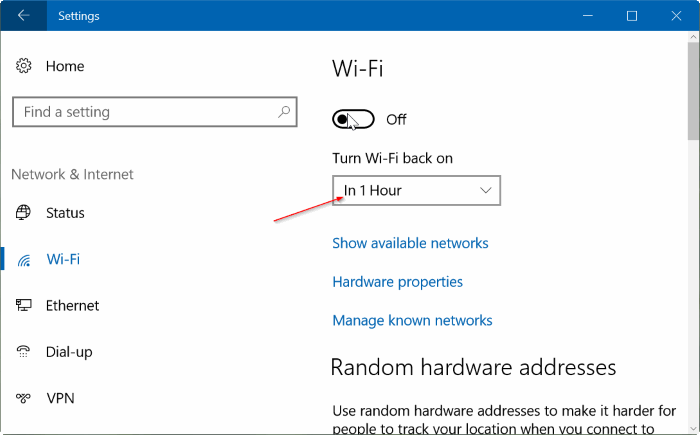 Fi for an hour or two so that I can work without any distractions Automatically Turn Wi-Fi Back On In 1 Hour, 4 Hours Or 24 Hours In Windows 10