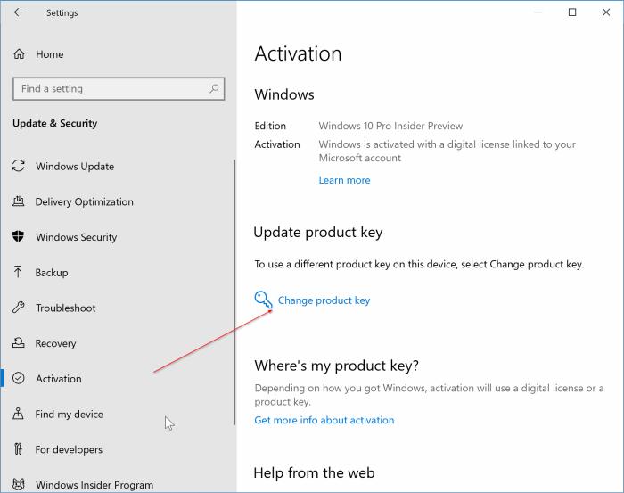 change Windows 10 product key pic1