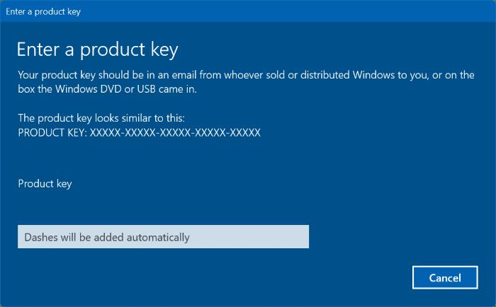 change Windows 10 product key pic2