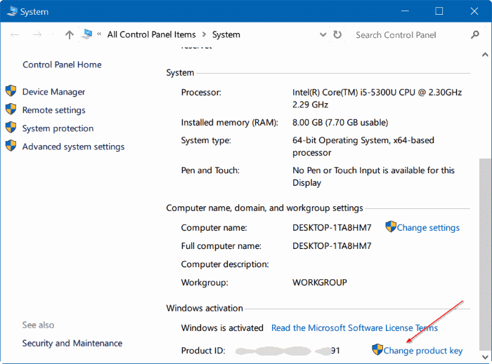 change Windows 10 product key pic4