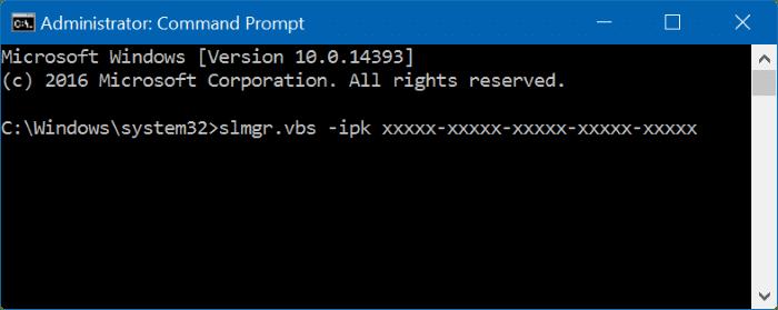 how to change windows 10 key