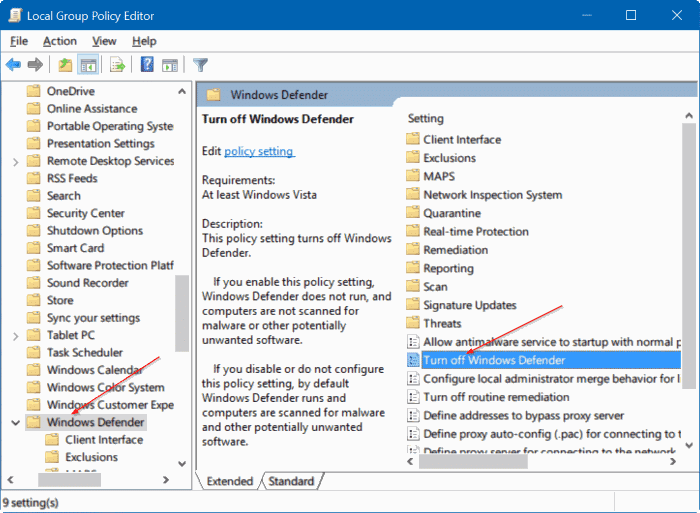 disable Windows defender in Windows 10 via registry or group policy step1