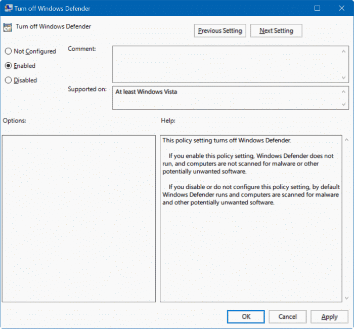 disable Windows defender in Windows 10 via registry or group policy step2