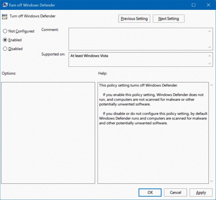 Windows defender in windows 10 via registry or group policy step2