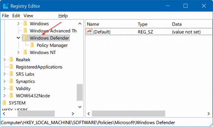 disable Windows defender in Windows 10 via registry or group policy step3