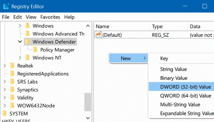 disable Windows defender in Windows 10 via registry or group policy step4