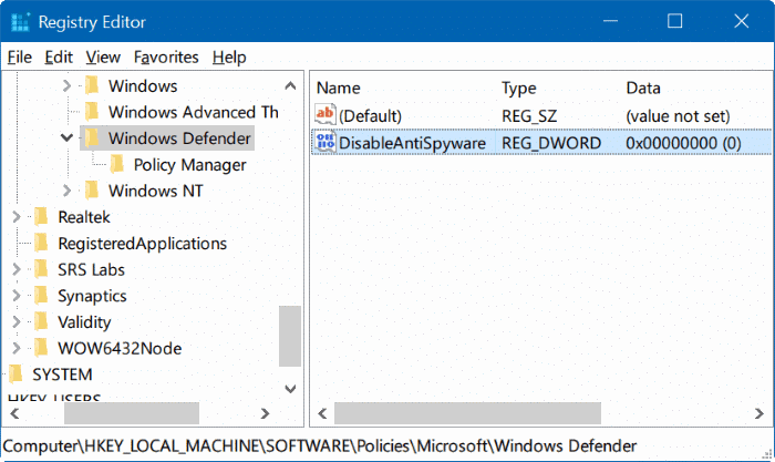 disable Windows defender in Windows 10 via registry or group policy step5