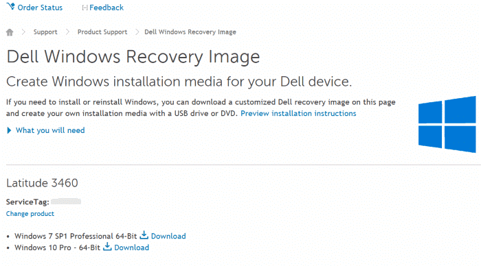 download dell Windows 10 recovery image