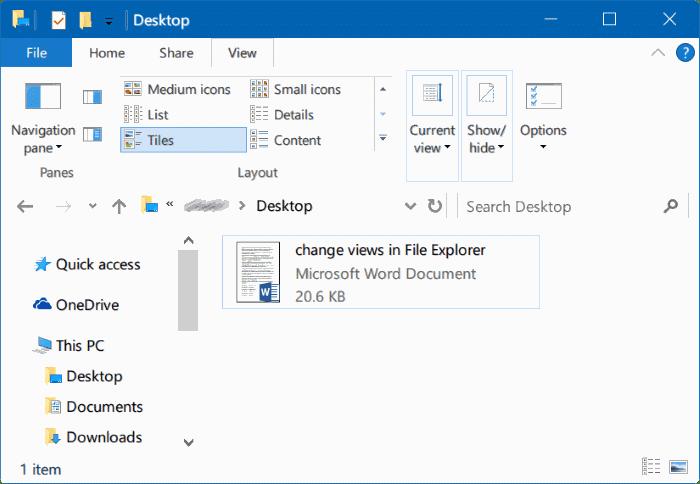 Keyboard Shortcuts To Change File Explorer View In Windows 10