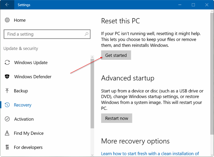 reset Windows 10 PC pic3