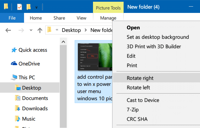 rotate pictures in Windows 10 file explorer pic3