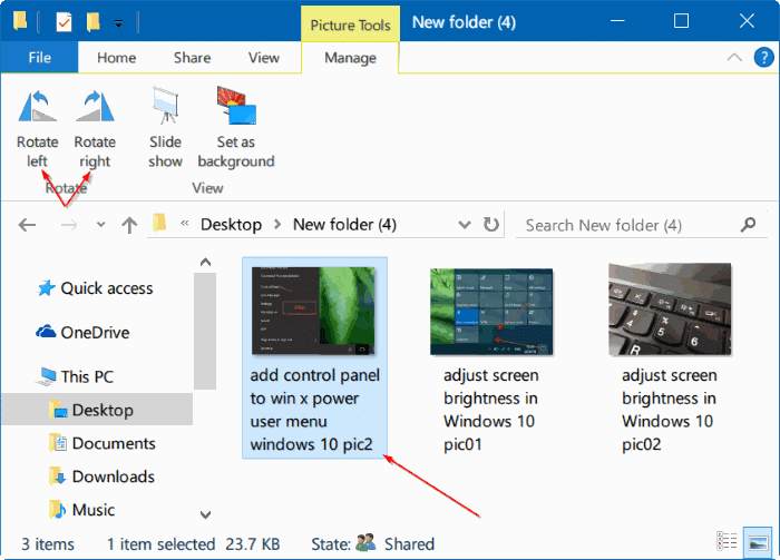 rotate pictures in Windows 10 file explorer