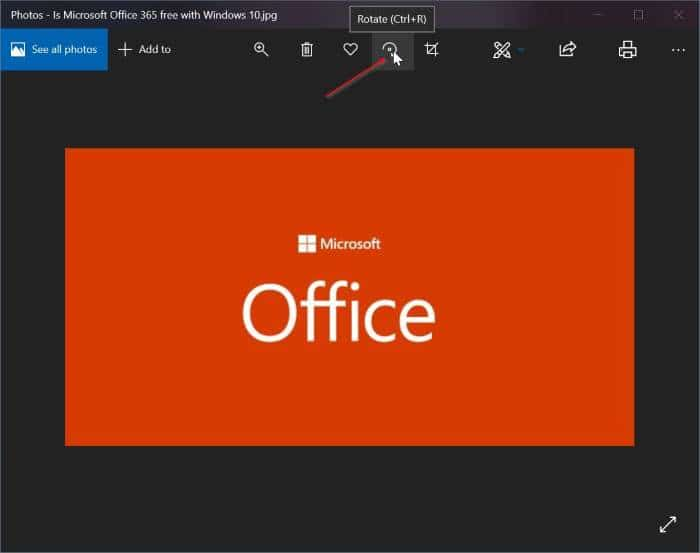rotate pictures in Windows 10