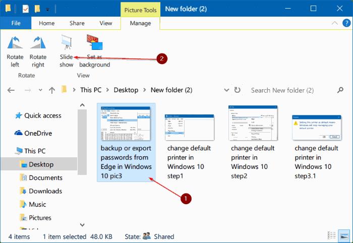 start slideshow right from File Explorer in Windows 10