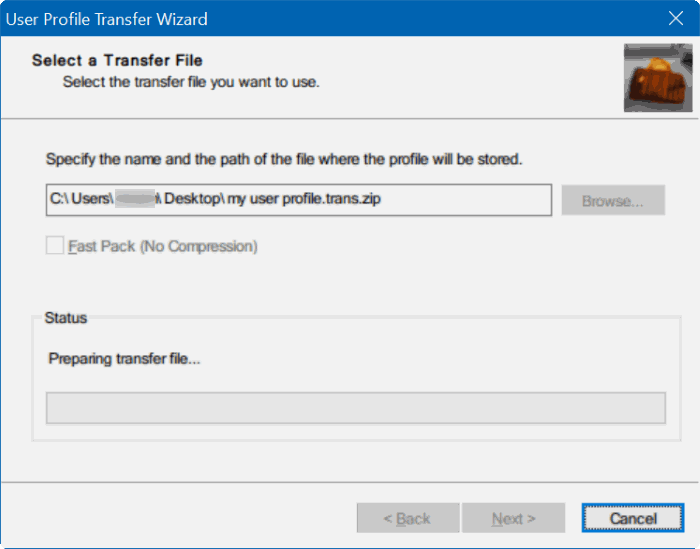 transfer user profiles in Windows 10 step5