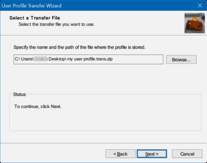 transfer user profiles in Windows 10 step8