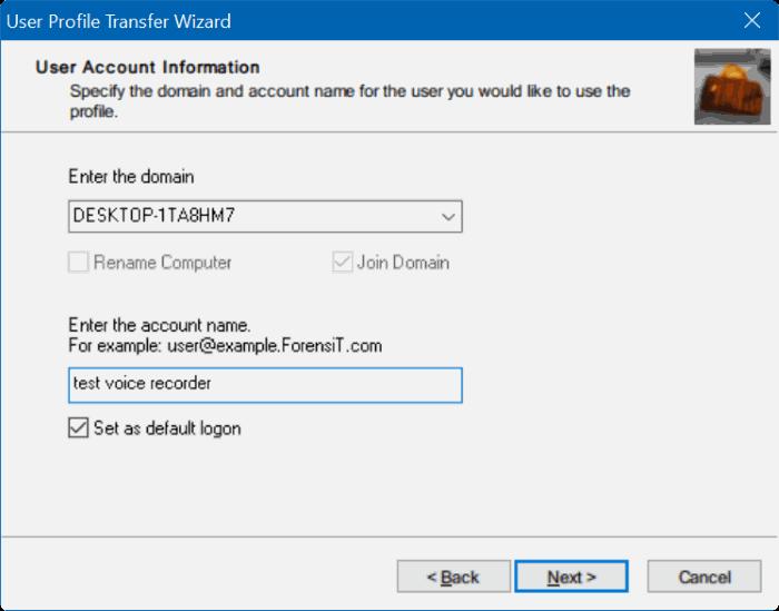 transfer user profiles in Windows 10 step9