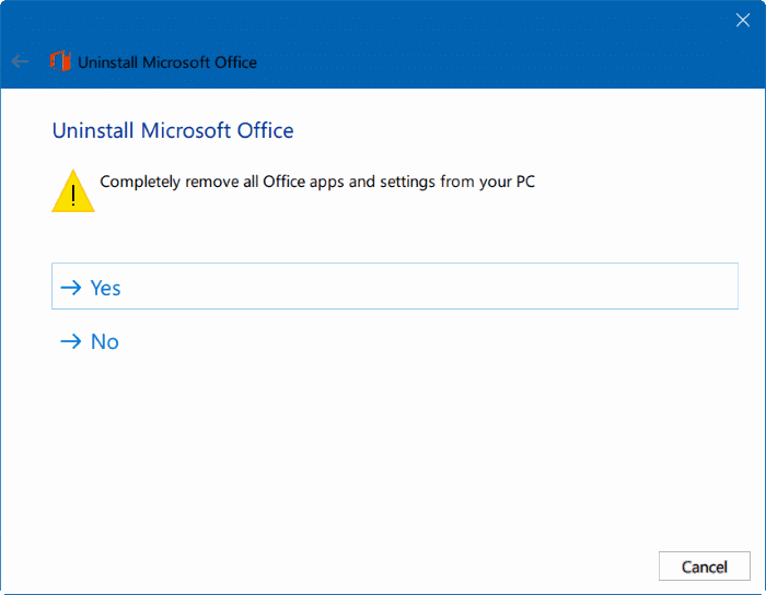 uninstall Microsoft Office 365 or office 2016 from Windows 10 pic3