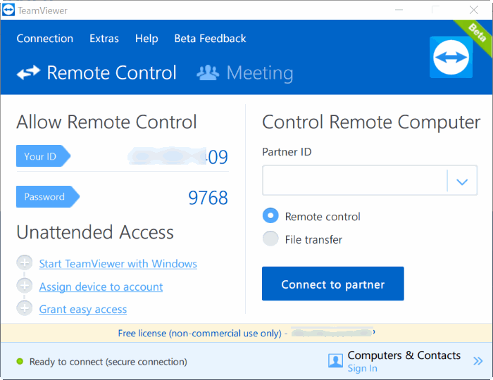 TeamViewer 12 for Windows 10 pic1