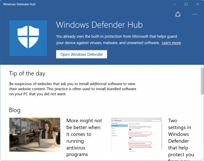 Windows Defender Hub for Windows 10