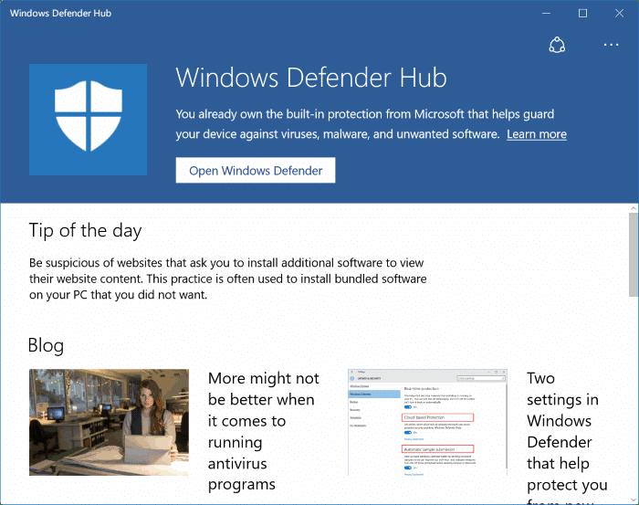 Download windows defender hub app for windows 10 for Window defender