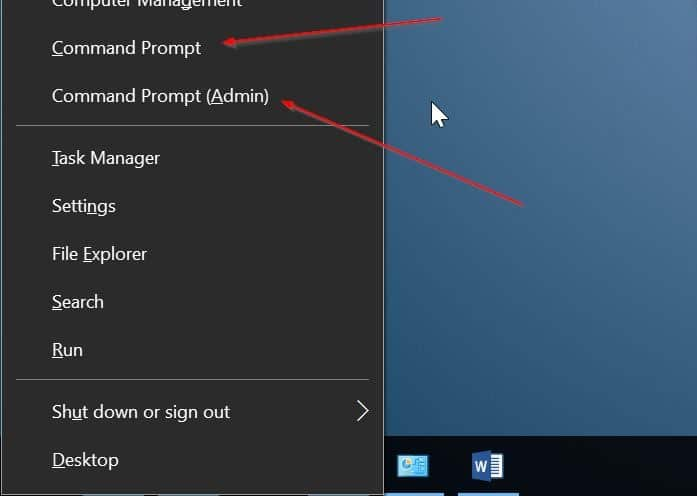 add command prompt to win x power user menu Windows 10 pic2