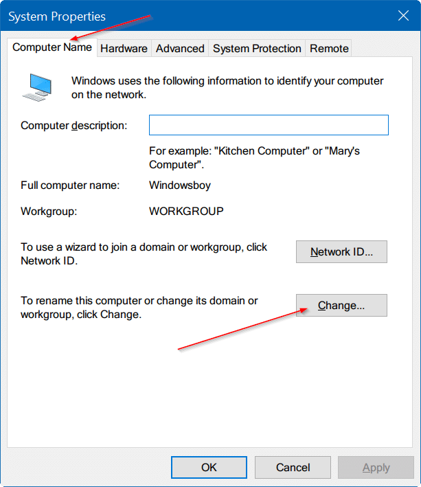 change computer name in Windows 10 pic7