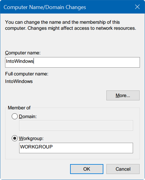 how to change domain to workgroup in windows 10