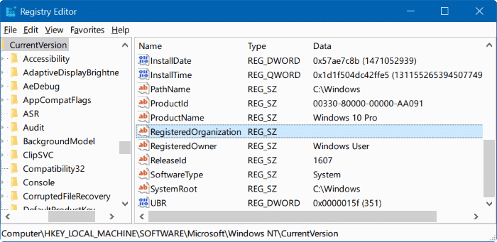 change registered owner and organization name Windows 10 pic2