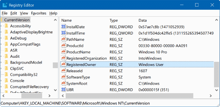 Change Registered Owner And Organization Name In Windows 10