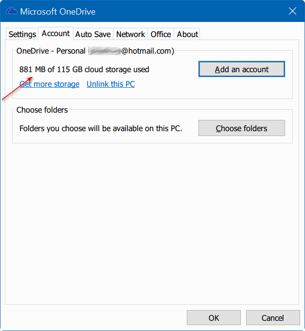 check onedrive storage space usage in Windows 10 pic2