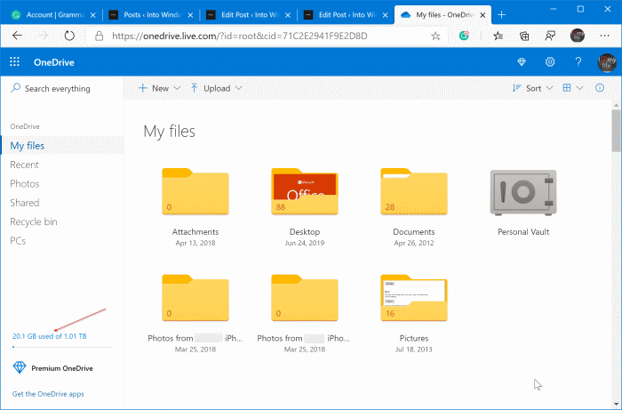check onedrive storage space usage in Windows 10 pic3