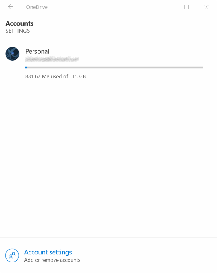 check onedrive storage space usage in Windows 10 pic5