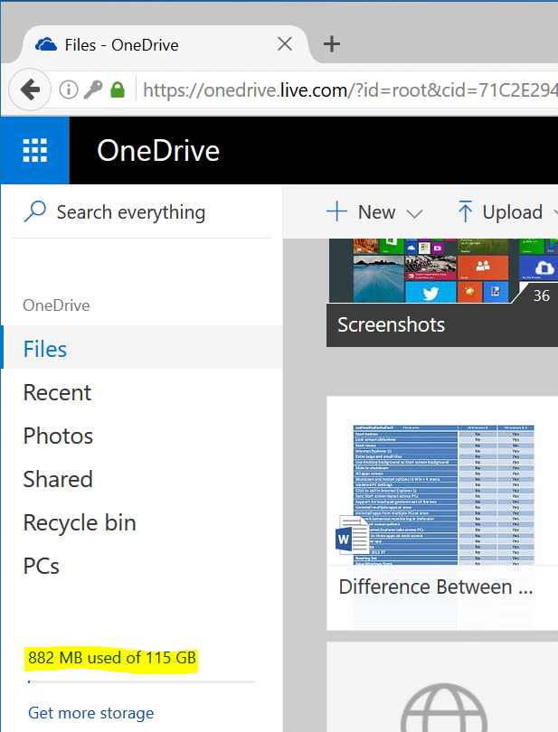 check onedrive storage space usage in Windows 10 pic7
