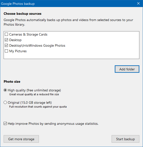 download google photos app for Windows 10 pic2