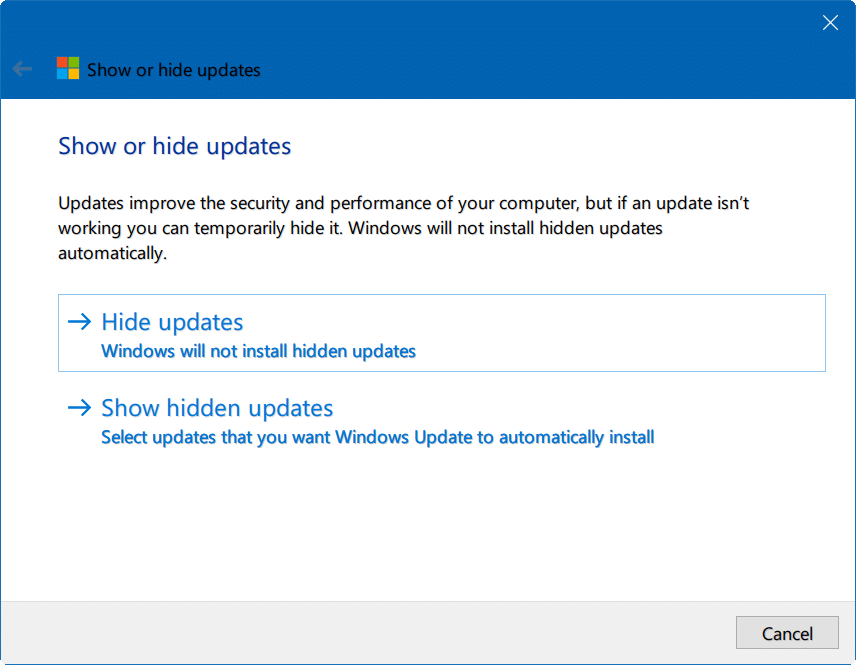 hide Windows updates Windows 10 pic1