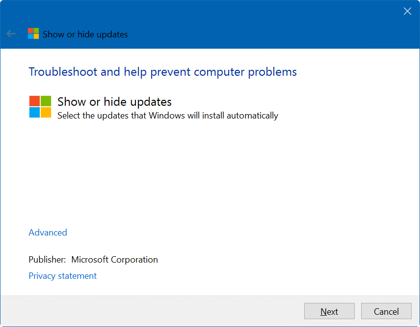 hide Windows updates Windows 10