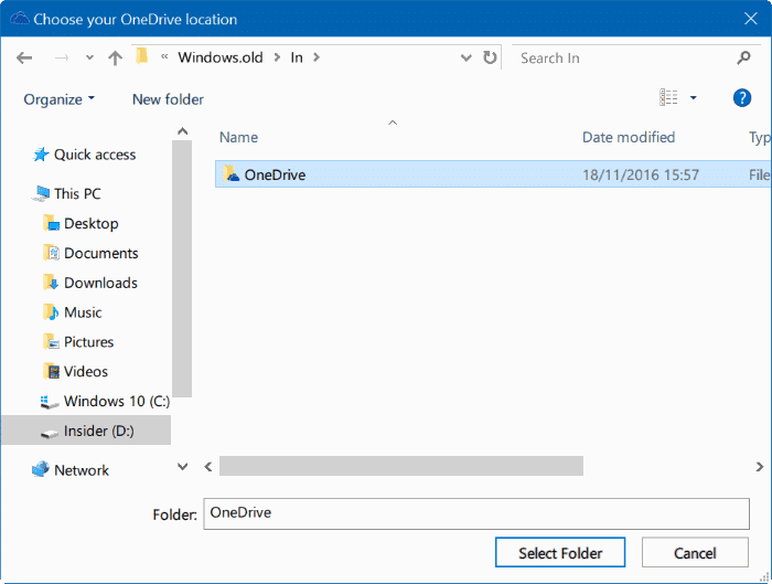 move onedrive folder in Windows 10 step14
