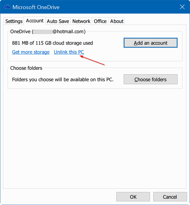 move onedrive folder in Windows 10 step2