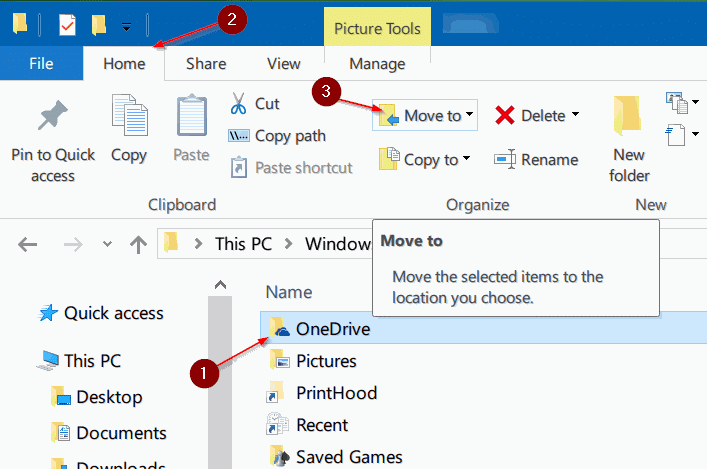 move onedrive folder in Windows 10 step6