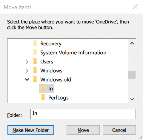move onedrive folder in Windows 10 step8
