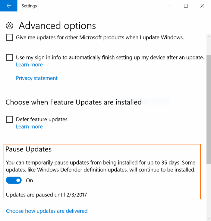 Delay or postpone Windows Update Windows 10 (3)
