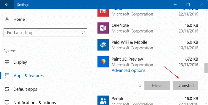 enable classic paint program in Windows 10 Creators Update pic01